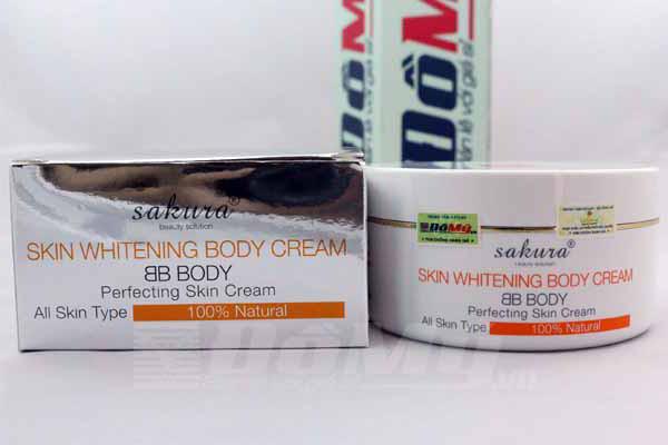 Kem dưỡng trắng da và trang điểm toàn thân Sakura Skin Whitening BB Body Cream
