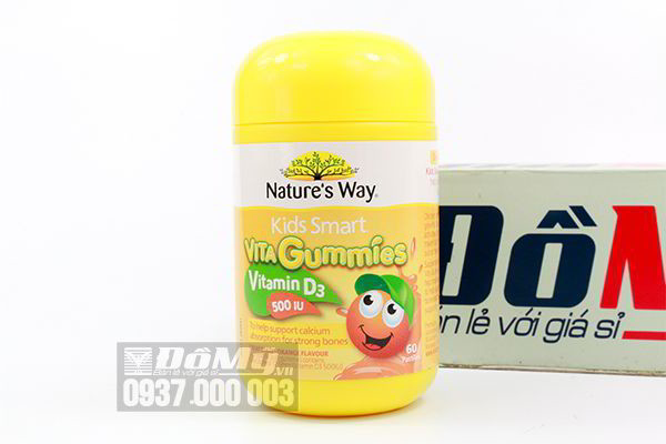 Kẹo mềm bổ sung Calcium và vitamin D Nature's Way Kids Smart Vita Gummies Vitamin D 500IU 60 viên của Úc.