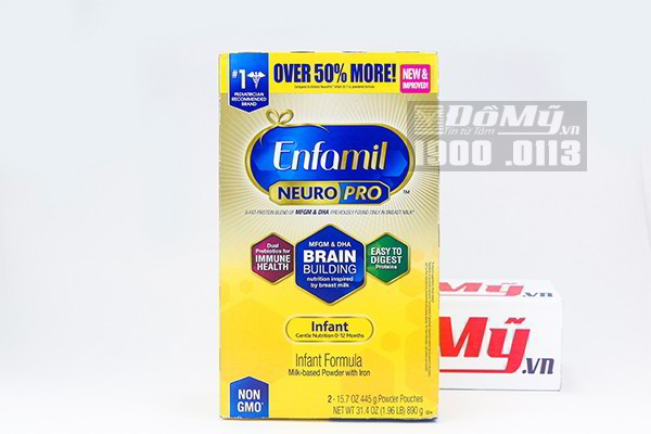 Sữa bột Enfamil Neuro Pro NON-GMO Infant Formula 890g của Mỹ (hộp giấy)