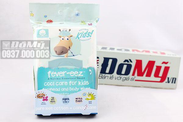 Giấy lau hạ sốt Natural Essentials Kids Fever- eez 32 miếng của Mỹ