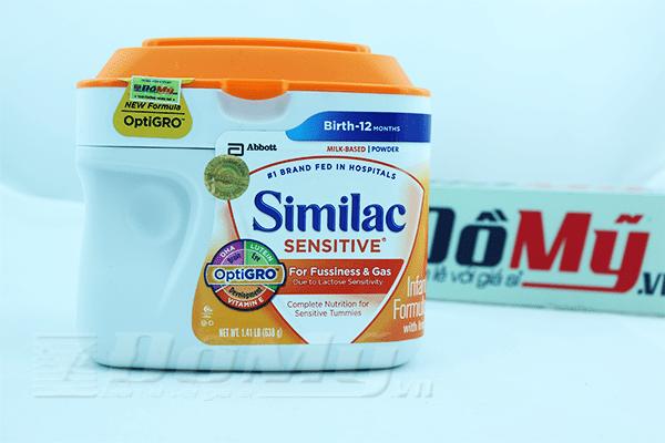 Sữa Similac Sensitive dành cho bé từ 0-12 tháng. Trọng lượng: 638gr
