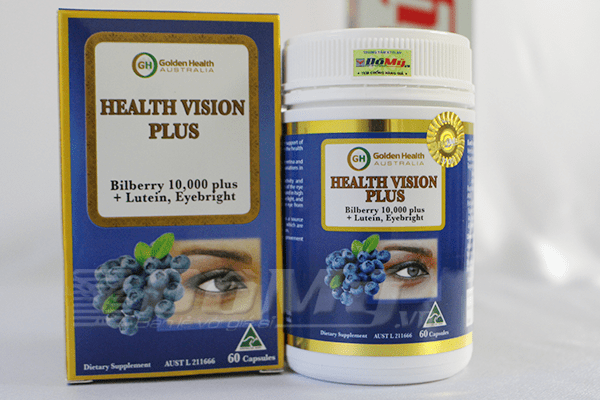 Viên nang bổ mắt Golden Health Health Vision Plus Bilberry 10.000 plus, Lutein, Eyebright, 100 viên