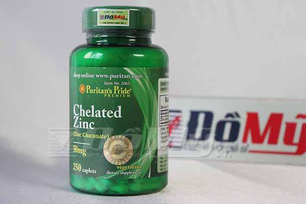 Viên uống bổ sung vitamin kẽm Zinc Puritan's Pride hộp 250 viên của Mỹ
