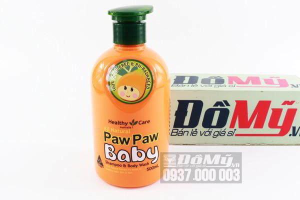 Sữa tắm gội Healthy Care All Natural Paw Paw Baby 500ml của Úc