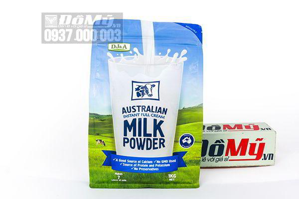 Sữa tươi dạng bột nguyên kem DJ&A Australian Instant Full Cream Milk Powder 1Kg của Úc