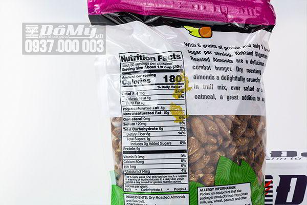 Hạnh nhân rang muối  Kirkland Almonds 1.13kg
