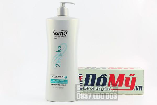 Dầu gội đầu kết hợp dầu xả Suave 2 in 1 Plus 828 ml của Mỹ
