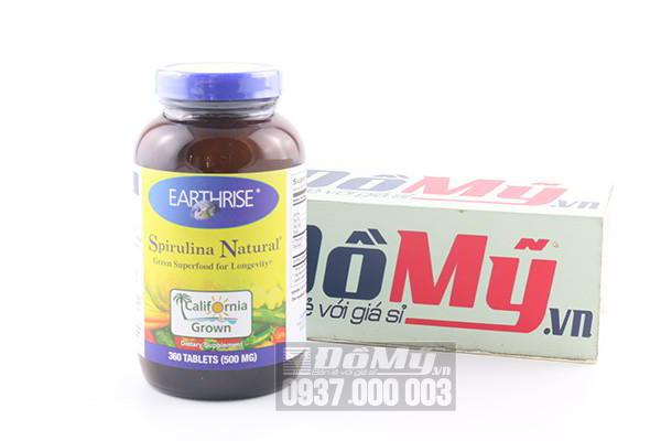Tảo mặt trời Earthrise Spirulina Natural 360 viên 500 mg của Mỹ