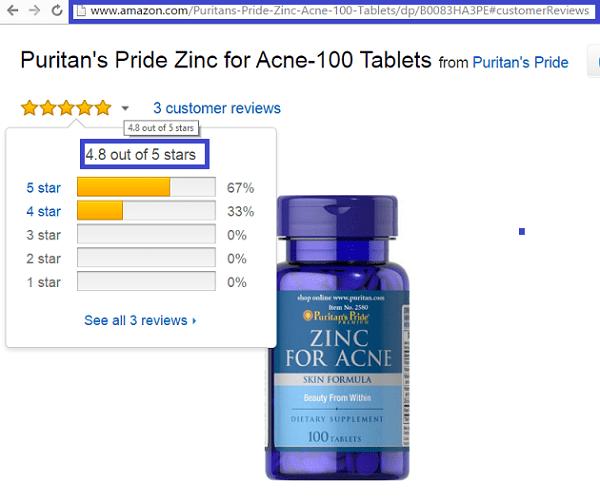 Viên bổ sung kẽm trị mụn ZinC for Acne Puritant's Pride 100 viên của Mỹ