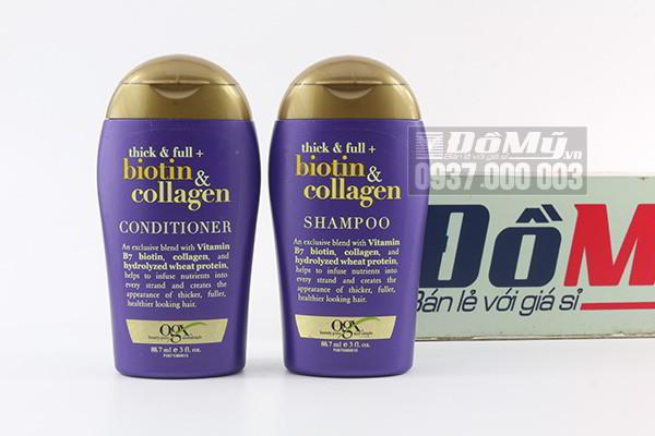 Dầu gội - xả khích thích mọc tóc Biotin & Collagen 88.7ml của Mỹ