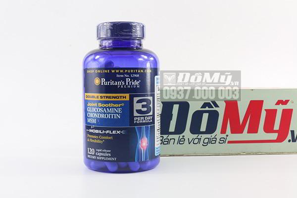 Viên uống hỗ trợ xương khớp Puritan's Pride Double Strength Joint Soother Glucosamine, Chondroitin & MSM 120 viên của Mỹ