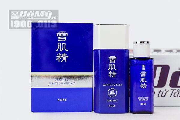 Set kem chống nắng Kose Sekkisei White UV Milk Kit 24ml Nhật