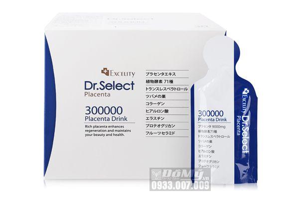 Tinh chất chống lão hóa, trị nám, tàn nhang từ nhau thai heo Dr. Select Placenta 300.000 mg hộp 30 gói của Nhật Bản