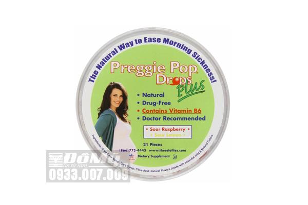 Kẹo Ngậm Hỗ Trợ Giảm Nghén Preggie Pop Drops Plus 21 viên của Mỹ