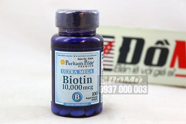 Viên uống chống rụng tóc Biotin Ultra Mega Puritan's Pride 10,000 mcg của Mỹ