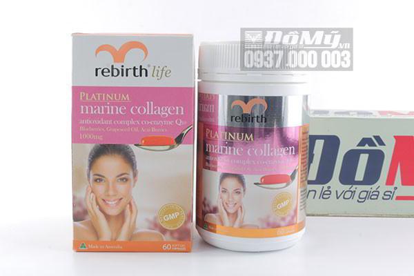 Viên uống chống lão hóa Rebirth Life Platinum Marine Collagen 60 viên của Úc