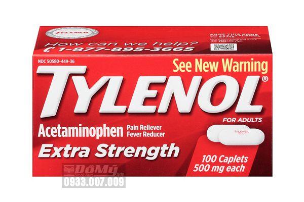 [HẾT HÀNG] Viên uống giảm đau hạ sốt Tylenol Extra Strength 500mg 100 viên
