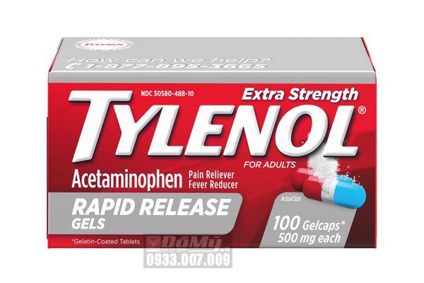 Viên uống giảm đau hạ sốt Tylenol Extra Strength Rapid Release Gels 500mg 100 viên (2 màu)