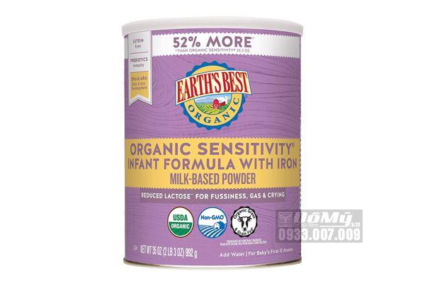 Sữa bột Organic Earth's Best Sensitive 658g