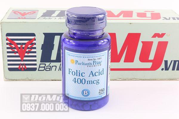 Viên uống hỗ trợ thiếu máu Puritan's Pride Folic Acid 400mcg 250 viên của Mỹ
