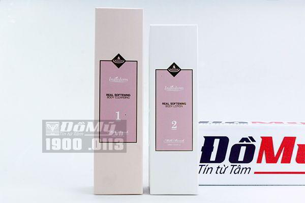 Set tắm trắng Indiederm Real Softening Hàn Quốc