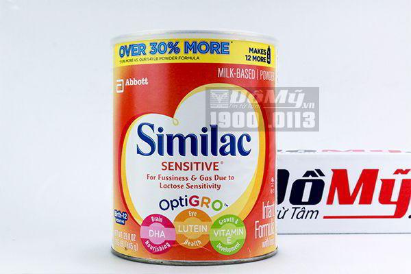 Sữa Similac Sensitive dành cho bé từ 0-12 tháng 845g