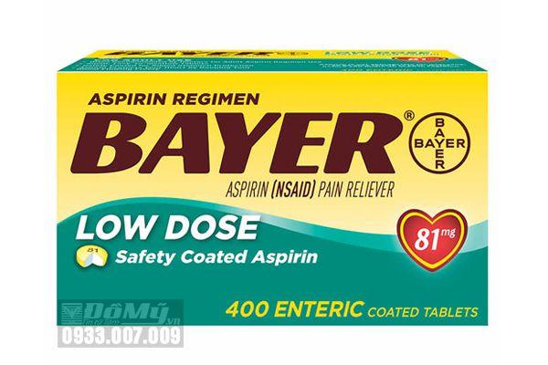 Viên giảm đau và ngăn ngừa nhồi máu cơ tim Bayer Low Dose Aspirin 81mg 400 viên