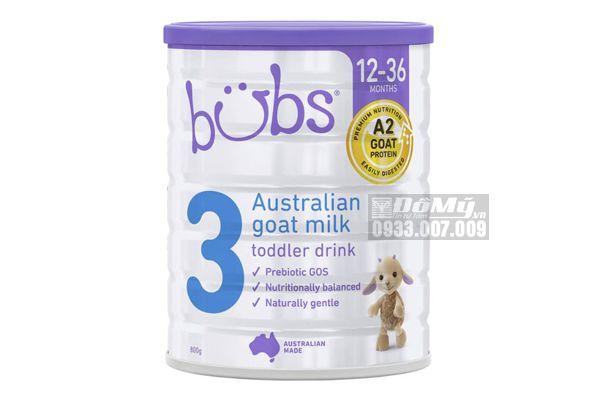 Sữa dê Bubs Goat Toddler Formula cho bé từ 12 - 36 tháng tuổi số 3 800g của Úc