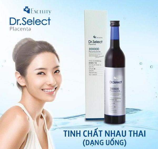 Tinh chất nhau thai heo chống lão hóa, trị nám, tàn nhang Dr. Select Placenta 300.000 mg chai 500ml của Nhật Bản