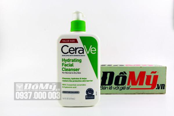 Sữa rửa mặt dịu nhẹ, da khô nhạy cảm Cerave Hydrating Facial Cleanser 473ml của Mỹ