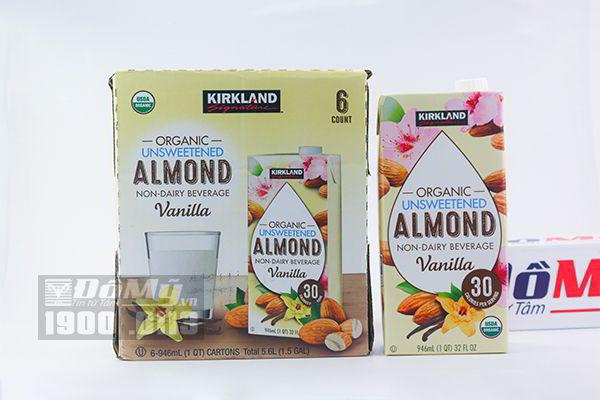 Sữa hạnh nhân Kirkland Signature Organic Unsweetened Almond Vanilla 946ml x 6 hộp (không đường)