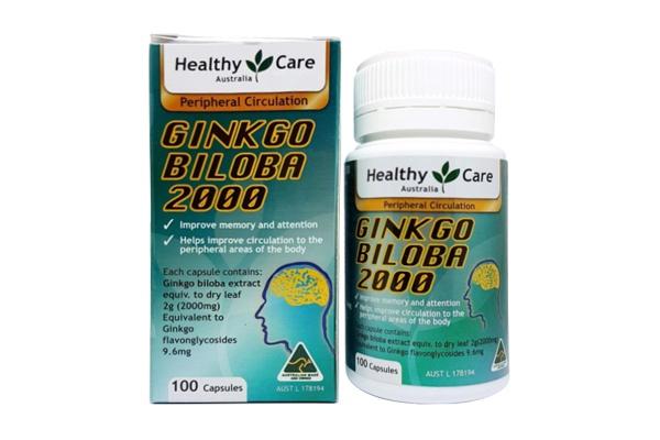 Viên bổ não Healthy Care Ginkgo Biloba 2000mg 100 viên của Úc