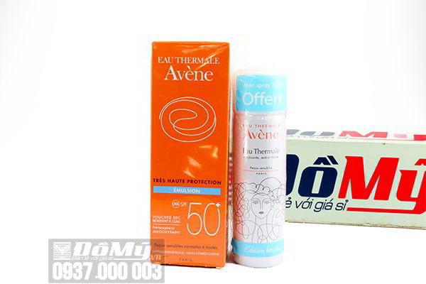 Set kem chống nắng Avene Emulsion SPF 50+ 50ml tặng kèm xịt khoáng Avene 50ml của Pháp