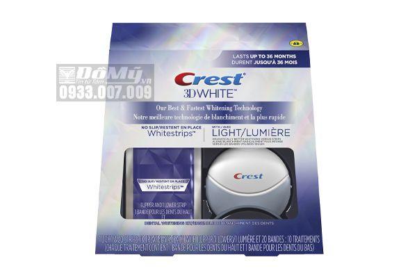 Bộ Đèn Chiếu & Miếng Dán Trắng Răng Crest 3D White Whitestrips with Light, Teeth Whitening Strips Kit
