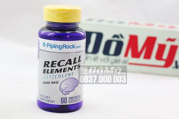 Viên uống Bổ não Recall Elements Citicoline 500MG hộp 60 viên của Mỹ