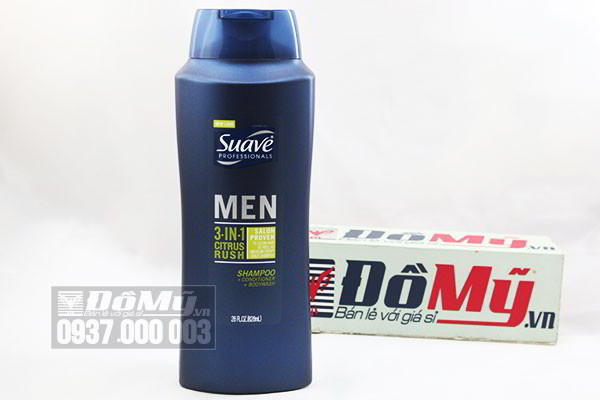 Dầu tắm, gội, xả Suave Men 3 in 1 Shampoo, Conditioner and Body Wash 828ml của Mỹ