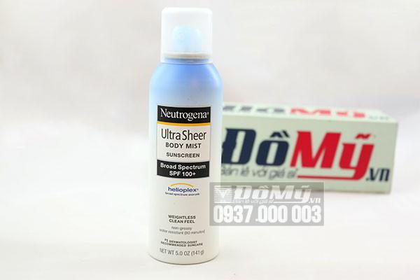Xịt chống nắng Neutrogena Ultra Sheer Body Mist Sunscreen SPF 100+ 141g của Mỹ