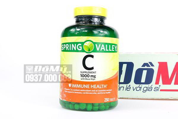 Viên uống bổ sung Vitamin C Supplement 1000mg Spring Valley 250 viên của Mỹ