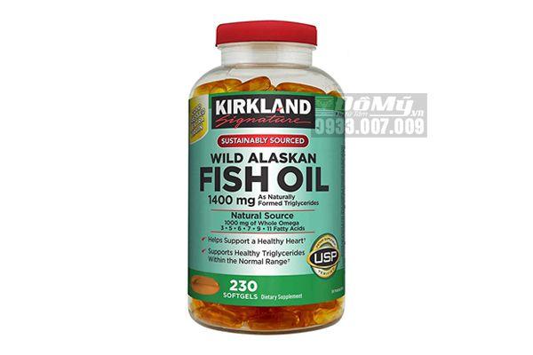Viên uống Dầu Cá Alaska Kirkland Signature Wild Alaskan Fish Oil  1400 mg 230 viên của Mỹ