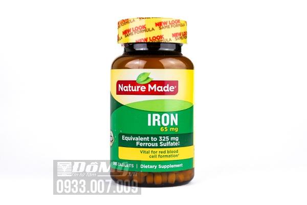 Viên uống bổ sung sắt Nature Made Iron 65mg 365 viên của Mỹ