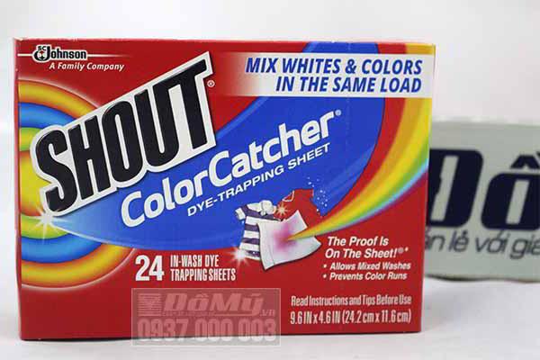 Giấy hút màu khi giặt quần áo của Mỹ Shout Color Catcher loại 24 tờ