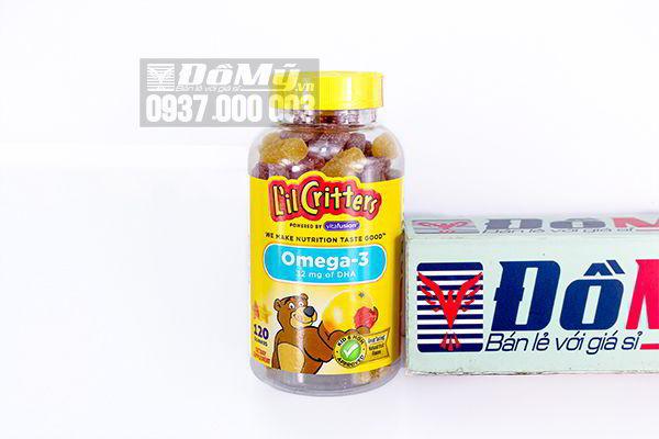 Kẹo gấu dẻo bổ sung Omega 3 và DHA cho trẻ Lil Critters 120 viên của Mỹ