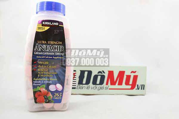 Viên uống trị đau bao tử của Mỹ- Kirkland Calcium Carbonate Antacid 1000mg 265 viên