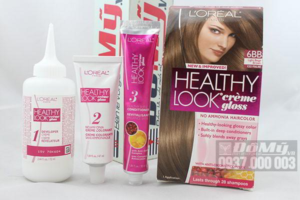 Bộ sản phẩm nhuộm tóc của Mỹ L'oreal Healthy Look Crème Gloss Color