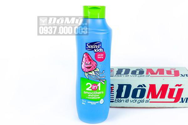 Dầu gội kết hợp dầu xả 2 trong 1 Suave Kids hương dâu tây 665 ml của Mỹ