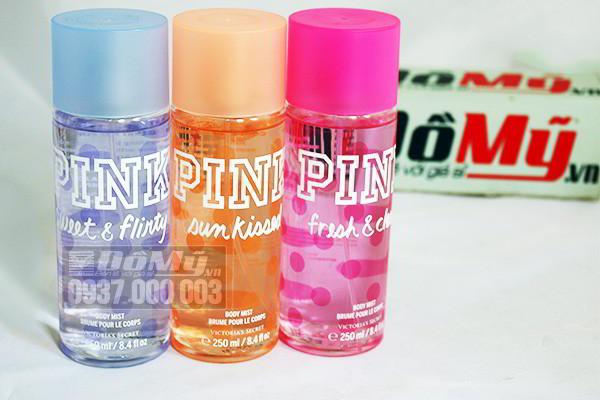 Bộ sản phẩm xịt thơm cơ thể Victoria's Secret Pink Body Mist 250ml của Mỹ
