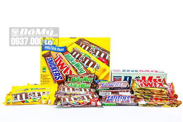 Hộp kẹo Chocolate tổng hợp các loại M&M 30 gói của Mỹ