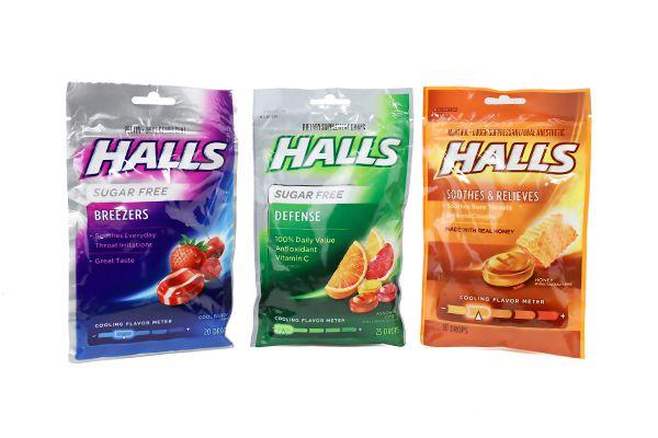 Kẹo ngậm trị ho, đau họng Halls không đường 30 viên của Mỹ