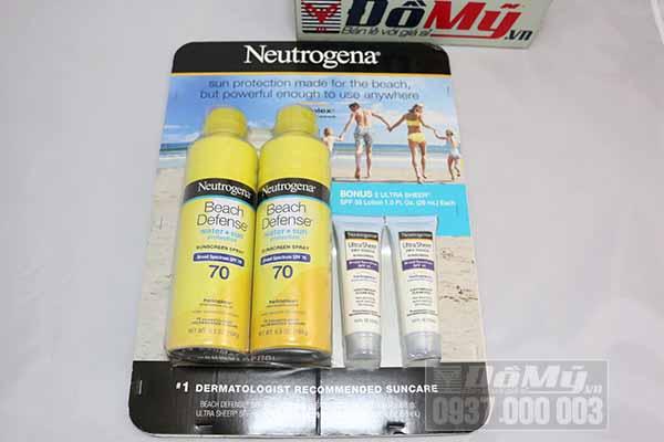 Set Chống nắng Neutrogena gồm: 2 chai xịt chống nắng 187g và 2 tuýp chống nắng 29ml