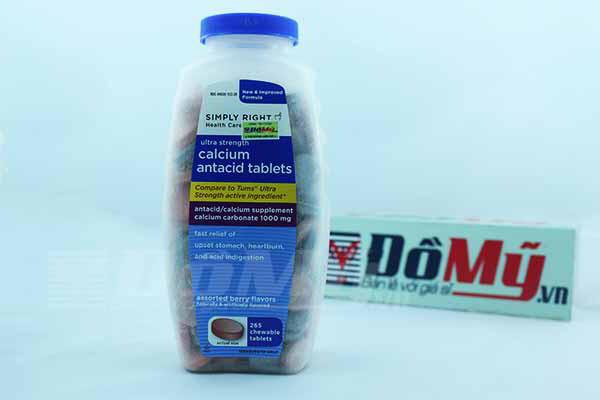 Viên nhai điều trị dạ dày Simply Right Calcium Antacid Tablets 265 viên của Mỹ